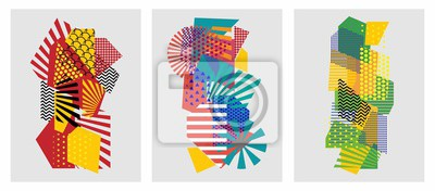 Fototapeta Colorful trendy geometric flat elements of pattern memphis. Pop art style texture. Modern abstract design poster and cover template
