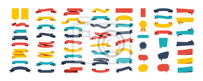 Fototapeta Colorful Vector Ribbon Banners. Set of Ribbons Banners with Label, Tag and Quality Badges. Banners set and colorful Ribbon, isolated on white background. Ribbon Banner in modern simple flat design