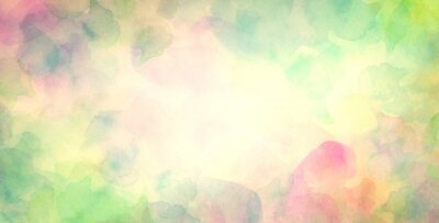 Fototapeta colorful watercolor background in green blue pink and yellow spring or Easter colors, abstract sunny bright bokeh blur design
