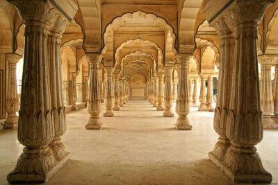 Fototapeta Columned hall of fort Amber . Jaipur, Indie .