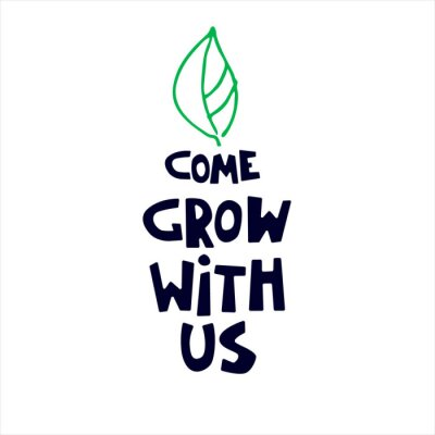 Fototapeta Come grow with us. Banner for a recruitment ad. Heading for human resources documents. Hiring, team building and personal growth concept. Hand drawn green leaf, lettering