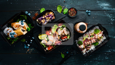 Fototapeta Comfortable food for a day. restaurant dish delivery. Top view. Free space for your text.