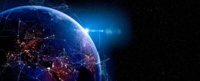 Fototapeta Communication technology for internet business. Global world network and telecommunication on earth and IoT. Elements of this image furnished by NASA