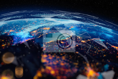 Fototapeta Communication technology for internet business. Global world network and telecommunication on earth cryptocurrency and blockchain and IoT. Elements of this image furnished by NASA