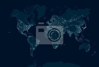 Fototapeta Communications network map of the world
