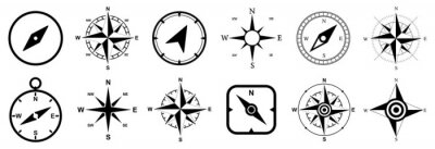 Fototapeta Compass set icons, navigation equipment sign, wind rose icon, compass symbol collection – vector