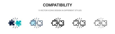 Fototapeta Compatibility icon in filled, thin line, outline and stroke style. Vector illustration of two colored and black compatibility vector icons designs can be used for mobile, ui, web