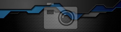 Fototapeta Composition of dark futuristic elements on black background. Dark metallic perforated texture design. Technology geometric illustration. Vector header banner