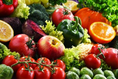 Fototapeta Composition with variety of fresh organic vegetables and fruits