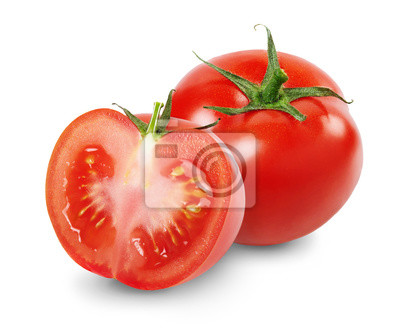 Fototapeta Composition with whole and sliced tomatoes isolated on white background. Full depth of field.