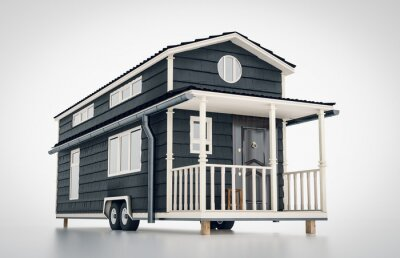 Fototapeta Concept of a mobile scandinavian tiny house isolated on white background. 3d rendering.