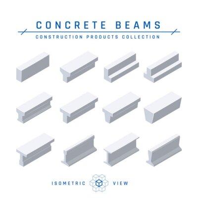 Fototapeta Concrete beams in isometric view, vector icon