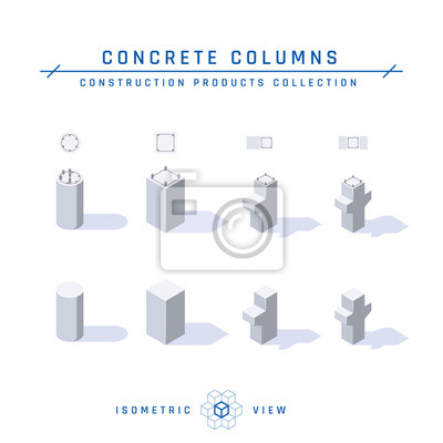 Fototapeta Concrete columns in isometric view, vector icon