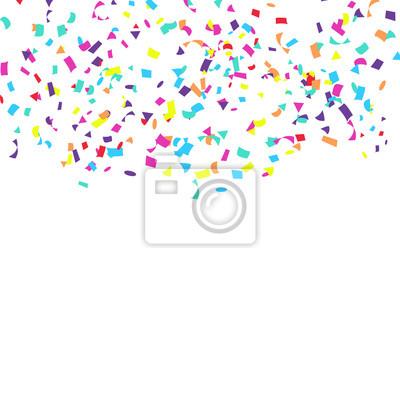 Fototapeta Confetti Falling Vector. Jasny Eksplozja Na Białym. Tło dla urodziny, rocznica, impreza, uroczystość dekoracji.