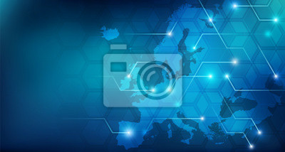 Fototapeta Connected European map concept – European Union, trade, digitalization, future