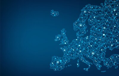 Fototapeta Connected map of Europe, background concept – European Union, cooperation, technology, digitalization, future