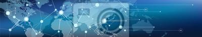 Fototapeta connected world map banner – communication / logistics and transportation / commerce, digitalization and connectivity, vector illustration