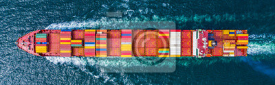 Fototapeta Container Ship Vessel Cargo Carrier. import export logistic and export products worldwide
