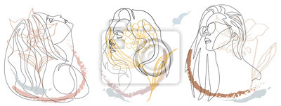 Fototapeta Continuous line, drawing of set faces and hairstyle, fashion concept, woman beauty minimalist,