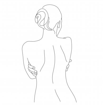 Fototapeta Continuous line drawing. Woman body. Vector Illustration for spa, tshirt, nails, poster. vector image of a woman. one line sketch