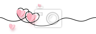 Fototapeta Continuous line heart shape border with realistic paper heart on white background for valentines, women, mother day greeting invitation graphic design