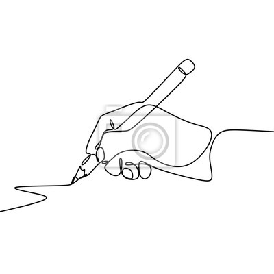 Fototapeta Continuous one line drawing hand palm fingers gestures pen, pencil.