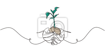Fototapeta Continuous one line drawing of plant in hand. Hands holding nature sign and symbol vector illustration. Minimalism design and simplicity sketch hand drawn.
