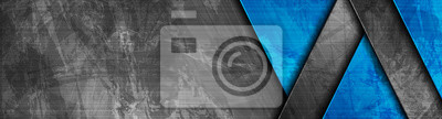 Fototapeta Contrast dark grey and blue geometric stripes. Abstract grunge tech banner design. Old wall concrete texture. Vector corporate background