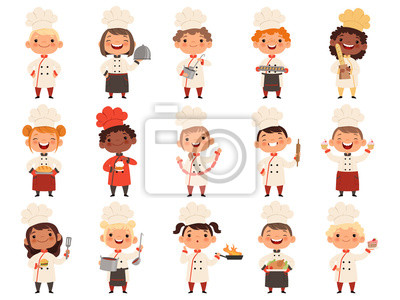 Fototapeta Cooking childrens. Little funny laugh kids making food profession chef vector boys and girls. Girl and boy funny cook delicious food illustration