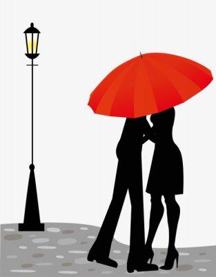 Fototapeta coppia di innamorati sotto l'Ombrello
