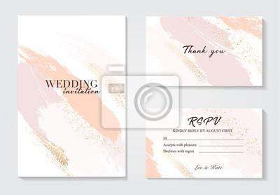 Fototapeta Coral gold greeting brush strokes wedding decoration. Vector glitter orange sparkling background. Watercolor spring hand-drawn design .