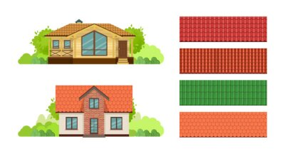 Fototapeta Country houses, townhouse, cottages, guesthouse, with roof, covered with tiles.