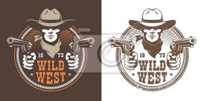 Fototapeta Cowboy with guns - wild west vintage logo. Bandit cowboy with pistol in a hat - retro emblem. Vector illustration.