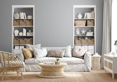 Fototapeta Cozy grey living room interior with coastal furniture, 3d render