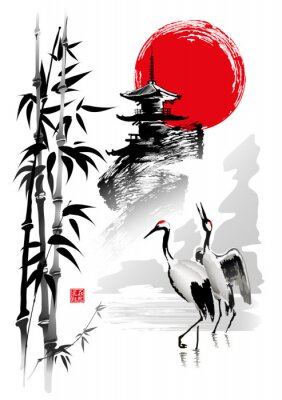 Fototapeta Cranes, bamboo stems, pagoda against the backdrop of the rising sun. Vector illustration in traditional oriental style. Hieroglyphs - Beauty in nature.