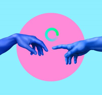 Fototapeta Creation of Adam. Contemporary art collage. Memphis style poster concept.