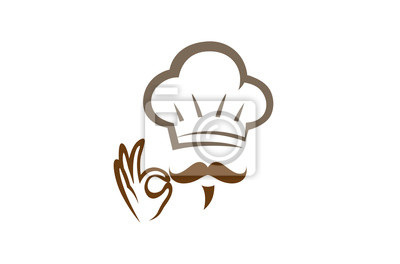 Fototapeta Creative Chef Hand Sign Logo Design Vector Symbol Illustration