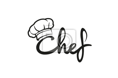 Fototapeta Creative Chef Hat Symbol Text Font Letter logo Vector Design Illustration