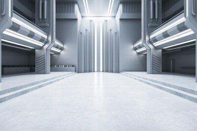Fototapeta Creative concrete futuristic interior with illuminated walls. Exhibition center and future concept. 3D Rendering.