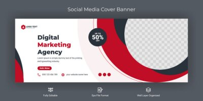 Fototapeta Creative corporate business marketing social media Facebook cover banner post template