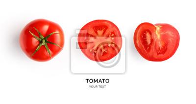 Fototapeta Creative layout made of tomato on the white background. Flat lay. Food concept. Tomato on the white background.