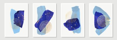 Creative minimalist hand painted Abstract art background with blue watercolor stain and Hand Drawn doodle golden color Scribble Circle. Design for wall decoration, postcard, poster or brochure.