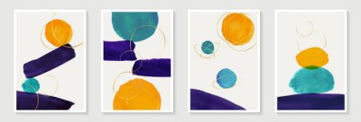 Creative minimalist hand painted Abstract art background with watercolor stain and shape elements vector EPS10. Design for wall decoration, postcard, poster or brochure