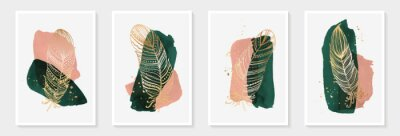 Creative minimalist hand painted Abstract art green and pink watercolor stain and Hand Drawn doodle golden color Scribble feather. Design for wall decoration, postcard, poster or brochure.