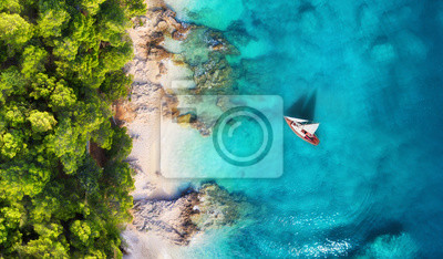 Fototapeta Croatia. Panoramic coast and yacht as a background from top view. Turquoise water background from top view. Beach and waves. Travel - image
