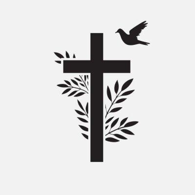 Fototapeta Cross, funeral design element with flower and bird. Vector illustration EPS 10