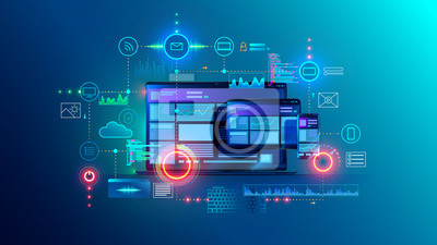 Fototapeta Cross platform website, app design development on laptop, phone, tablet. Technology of create software, code of mobile applications. Programming responsive layout of graphic interface, ui, ux concept.