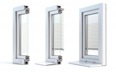 Fototapeta Cross section of plastic windows profile PVC isolated on white background.