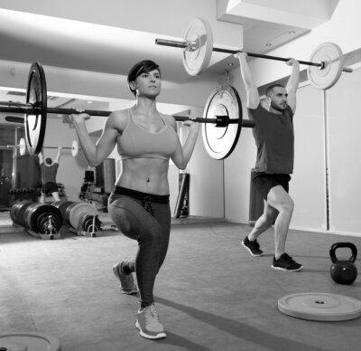 Fototapeta Crossfit siłownia podnoszenie ciężarów grupy bar