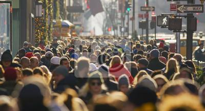 Fototapeta Crowd of people walking street in city